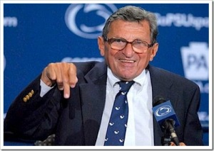 Legendary Penn State football coach Joe Paterno addresses the media